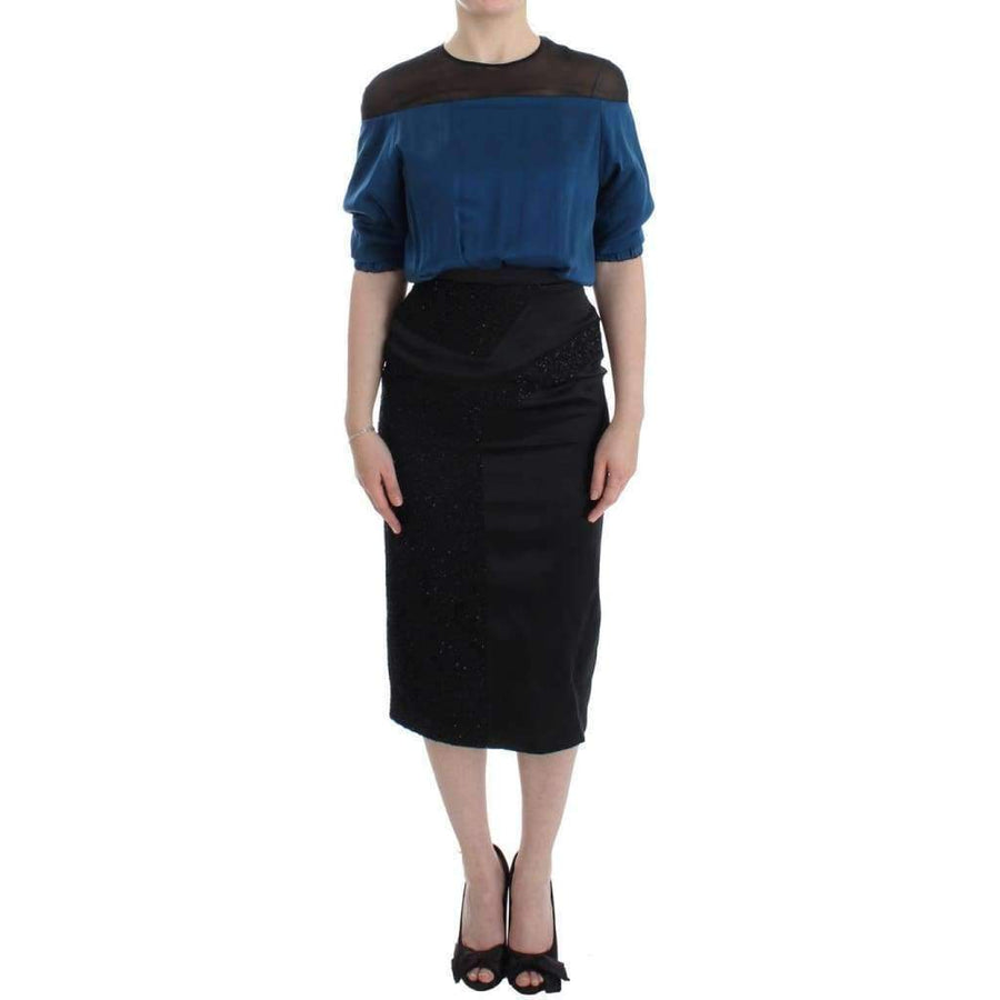 Blue Black Silk Shift Sheath Dress - Women - Apparel - Dresses - Casual - Masha Ma | Gethuda Fashion
