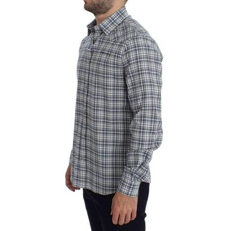 Blue Checkered Slim Fit Cotton Shirt