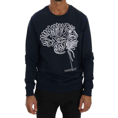 Blue Cotton Crewneck Pullover Sweater - Men - Apparel - Sweaters - Pull Over - Frankie Morello | Gethuda Fashion