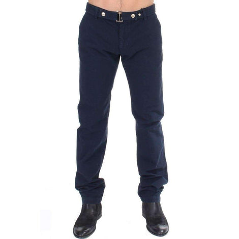 Blue Cotton Regular Fit Casual Pants - Men - Apparel - Trousers - GF Ferre | Gethuda Fashion