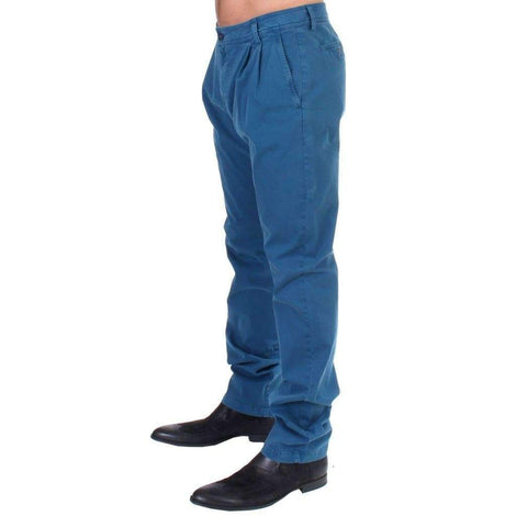 Blue Cotton Straight Fit Chinos - Men - Apparel - Denim - Jeans - GF Ferre | Gethuda Fashion