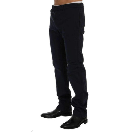 Blue Cotton Stretch Chinos Pants
