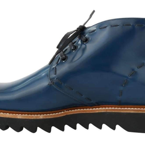 Dolce & Gabbana Blue Leather Ankle Boots