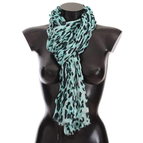 Dolce & Gabbana Blue Leopard Cashmere Blend Scarf - Women - Accessories - Scarves - Dolce & Gabbana | Gethuda Fashion