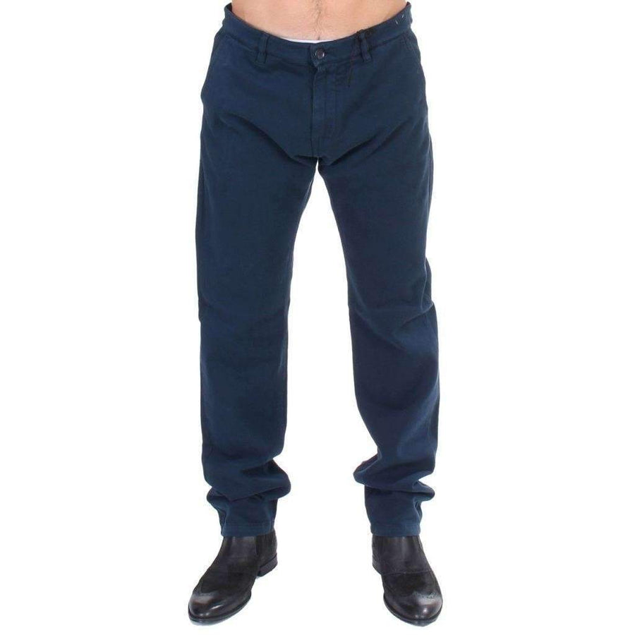 Blue Stretch Straight Fit Pants Chinos - Men - Apparel - Trousers - GF Ferre | Gethuda Fashion