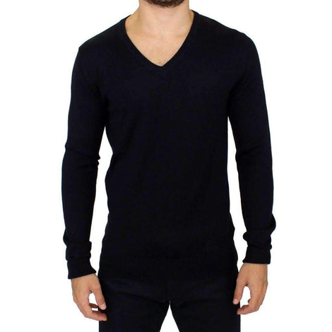 Blue Wool Blend Mens V-neck Sweater - Men - Apparel - Sweaters - Pull Over - GF Ferre | Gethuda Fashion