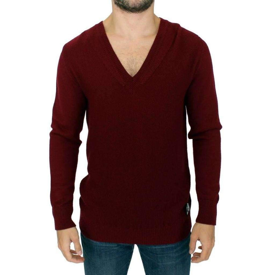 Karl Lagerfeld Bordeaux V-Neck Pullover Sweater - Men - Apparel - Sweaters - Pull Over - Karl Lagerfeld | Gethuda Fashion