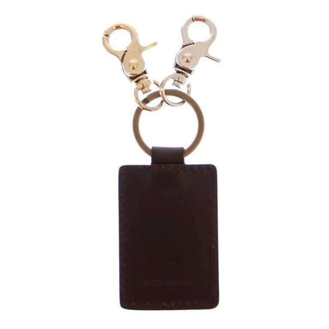 Dolce & Gabbana Brown Leather Metal Ring Keychain