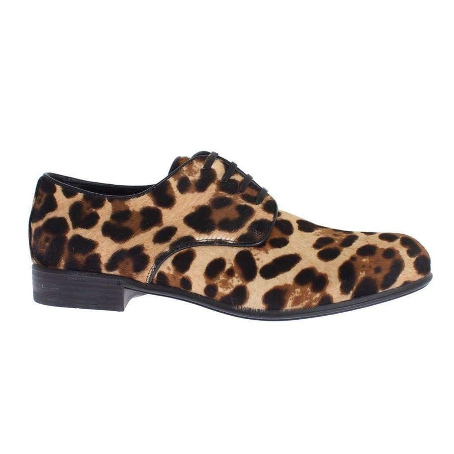 Dolce & Gabbana Brown Leopard Leather Hair Broques Shoes - Women - Shoes - Flats - Dolce & Gabbana | Gethuda Fashion