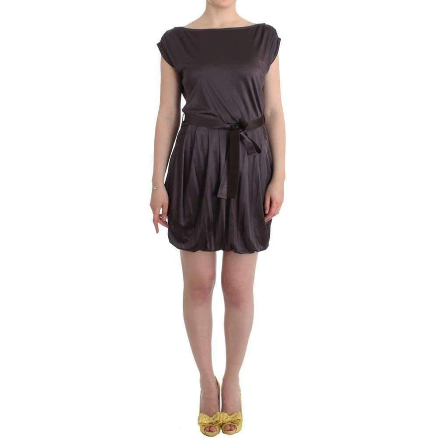 Brown Mini Jersey Shift Belted Dress - Women - Apparel - Dresses - Casual - GF Ferre | Gethuda Fashion
