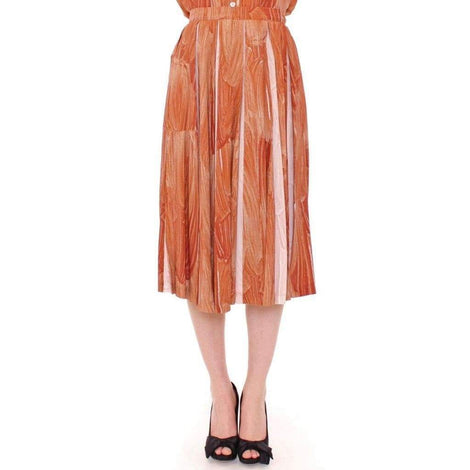 Brown Orange Below Knee Full Skirt - Women - Apparel - Skirts - Knee Length - Licia Florio | Gethuda Fashion