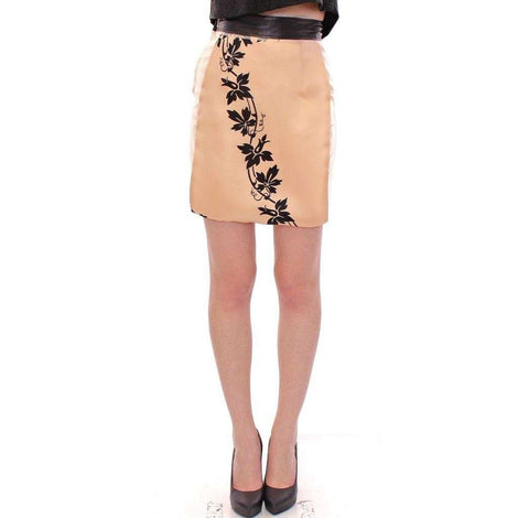 Beige Floral Print Silk Mini Skirt - Women - Apparel - Skirts - Knee Length - Caterina Gatta | Gethuda Fashion