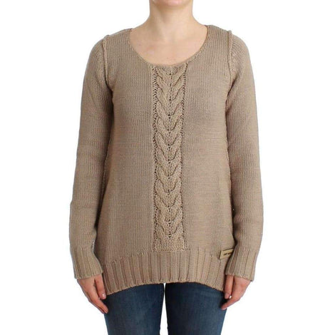 Beige knitted wool sweater - Women - Apparel - Sweaters - Pull Over - Cavalli | Gethuda Fashion