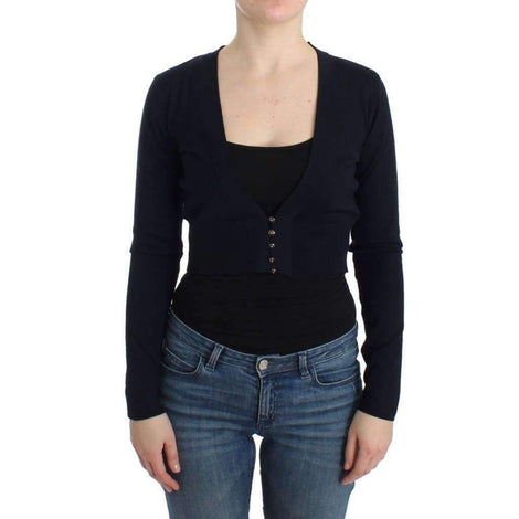 Black cropped wool cardigan - Women - Apparel - Sweaters - Pull Over - Cavalli | Gethuda Fashion