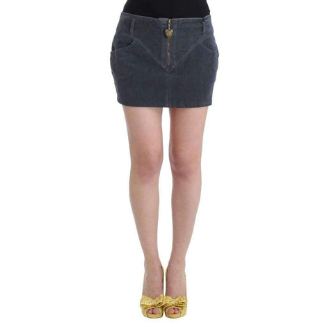 Blue corduroy mini skirt - Women - Apparel - Skirts - Knee Length - Cavalli | Gethuda Fashion