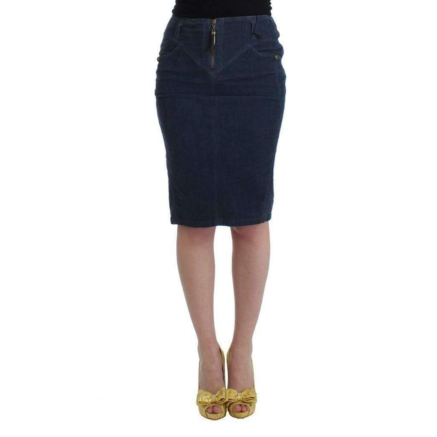 Blue corduroy pencil skirt