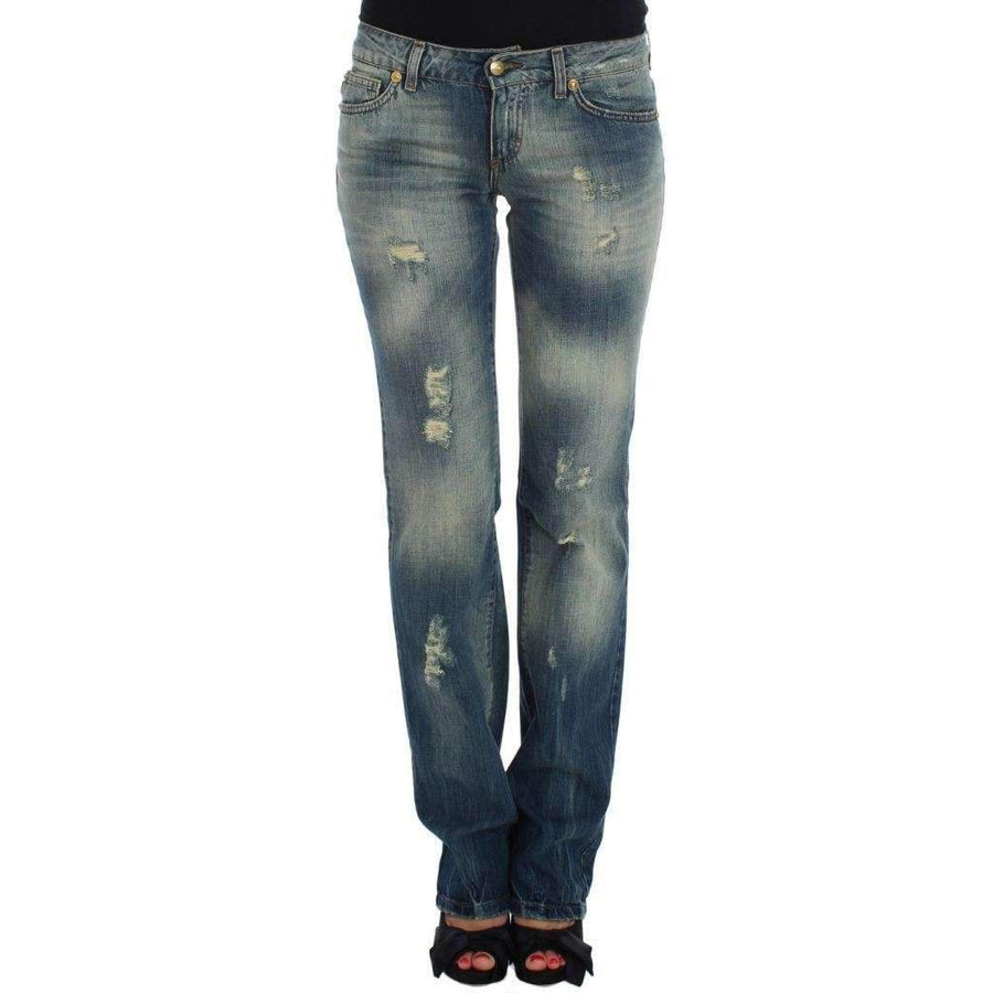Blue Cotton Low Waist Jeans - Women - Apparel - Denim - Jeans - Cavalli | Gethuda Fashion