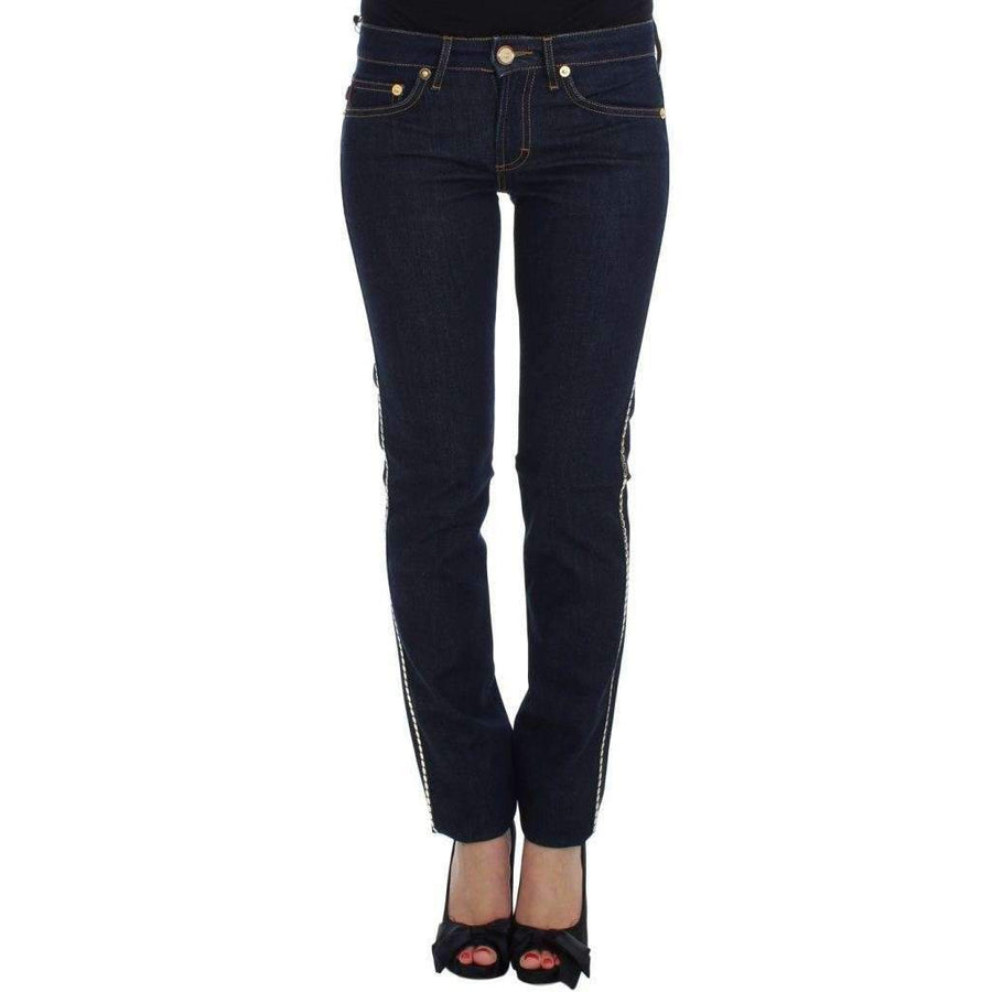 Blue Cotton Stretch Slim Fit Jeans - Women - Apparel - Denim - Jeans - Cavalli | Gethuda Fashion