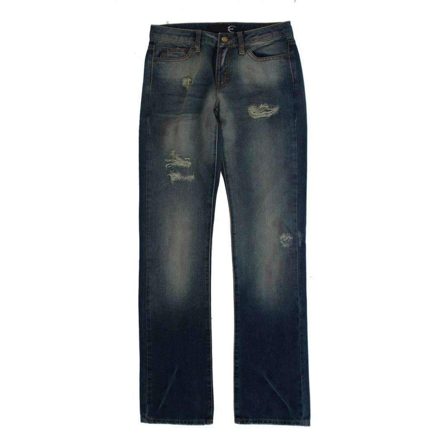 Blue Wash Torn Cotton Slim Fit Jeans - Women - Apparel - Denim - Jeans - Cavalli | Gethuda Fashion