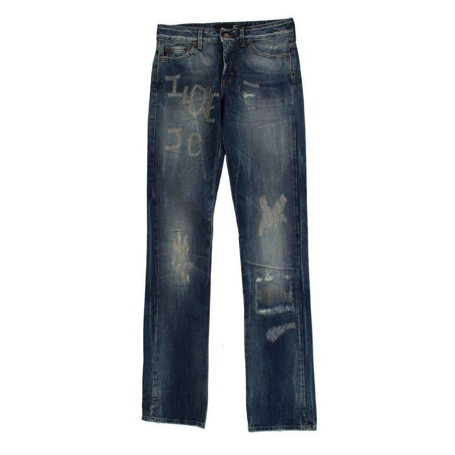 Blue Wash Torn Cotton Straight Fit Jeans - Women - Apparel - Denim - Jeans - Cavalli | Gethuda Fashion