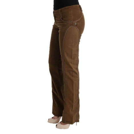 Brown Cotton Regular Fit Boot Cut Pants - Women - Apparel - Pants - Trousers - Cavalli | Gethuda Fashion