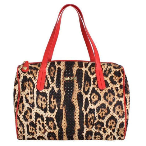 Cavalli Brown Leopard Print Red Hand Satchel Bag