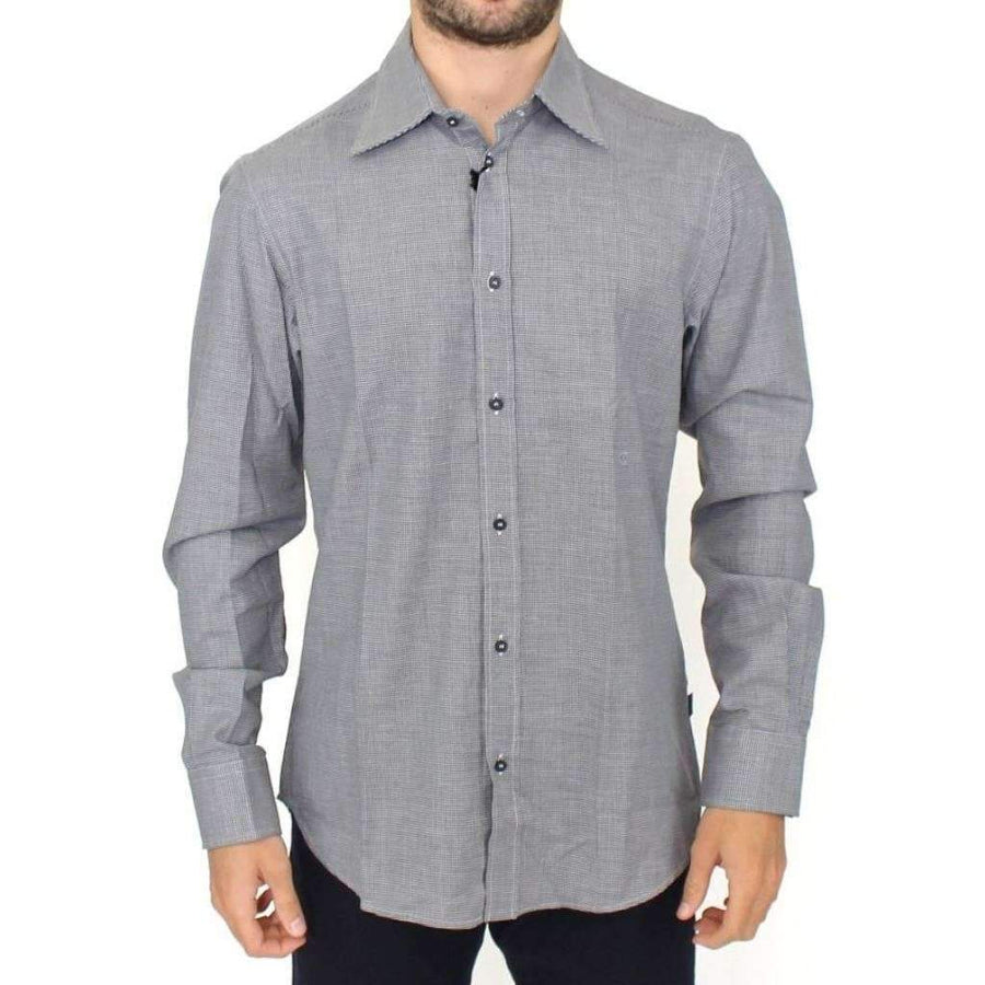 Gray checkered cotton button shirt - Men - Apparel - Shirts - Dress Shirts - Cavalli | Gethuda Fashion