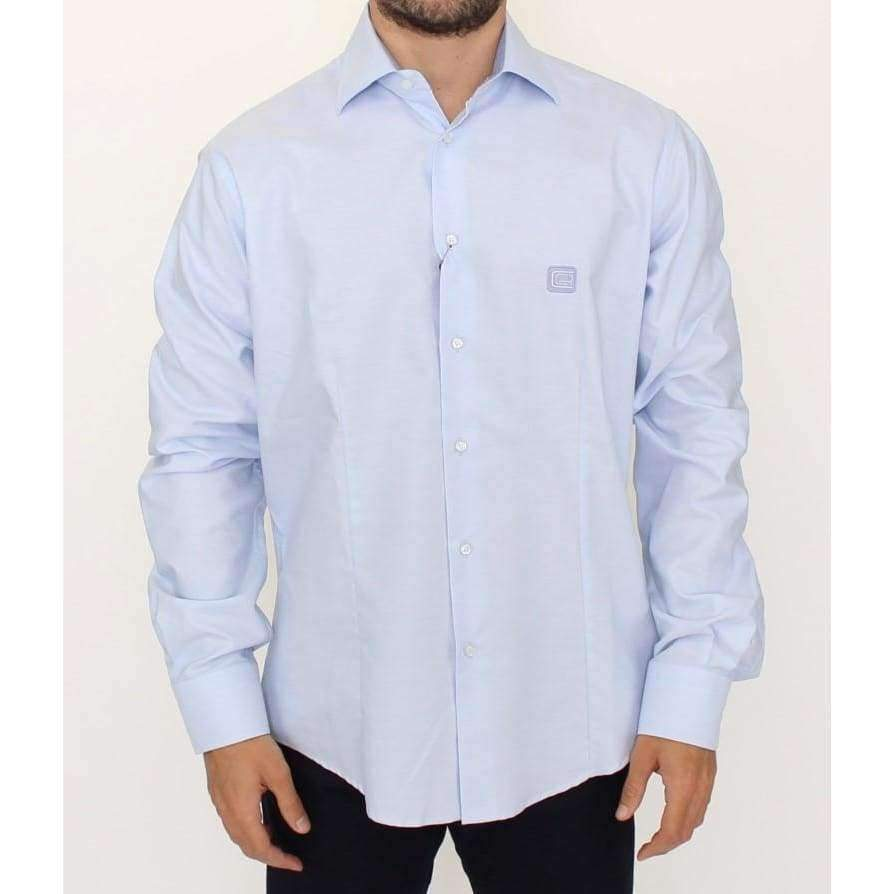 Light blue cotton shirt - Men - Apparel - Shirts - Dress Shirts - Cavalli | Gethuda Fashion