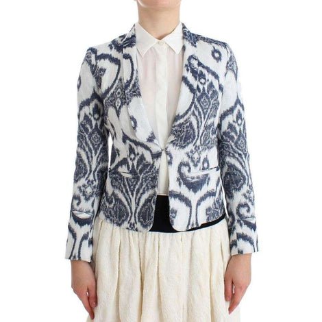 Blue White Blazer Suit Jacket - Women - Apparel - Suits - Classic - Christian Pellizzari | Gethuda Fashion