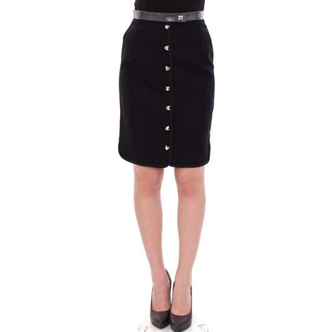 Black Metal Buttons Cotto Wool Skirt