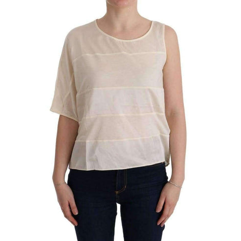 Beige Asymmetric Top Blouse - Women - Apparel - Shirts - Blouses - Costume National | Gethuda Fashion