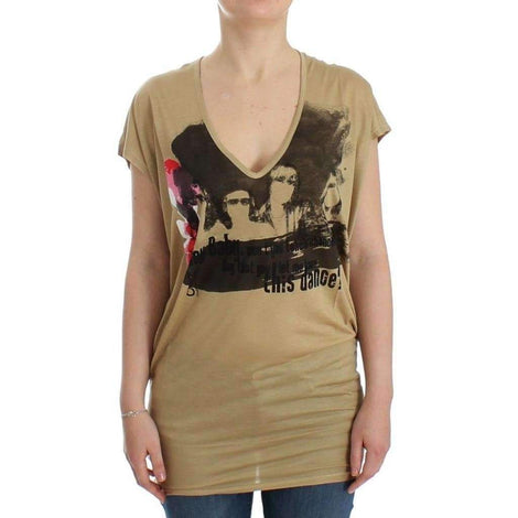 Beige motive print t-shirt - Women - Apparel - Shirts - T Shirts - Costume National | Gethuda Fashion