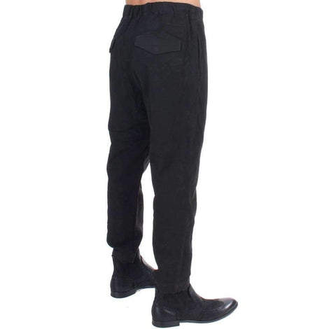 Black cotton stretch waist casual pants - Men - Apparel - Trousers - Costume National | Gethuda Fashion