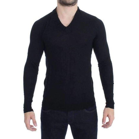 Black Fine Wool V-neck Sweater - Men - Apparel - Sweaters - Pull Over - Costume National | Gethuda Fashion