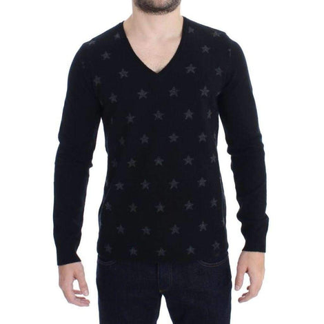 Black Gray Star Print V-neck Sweater