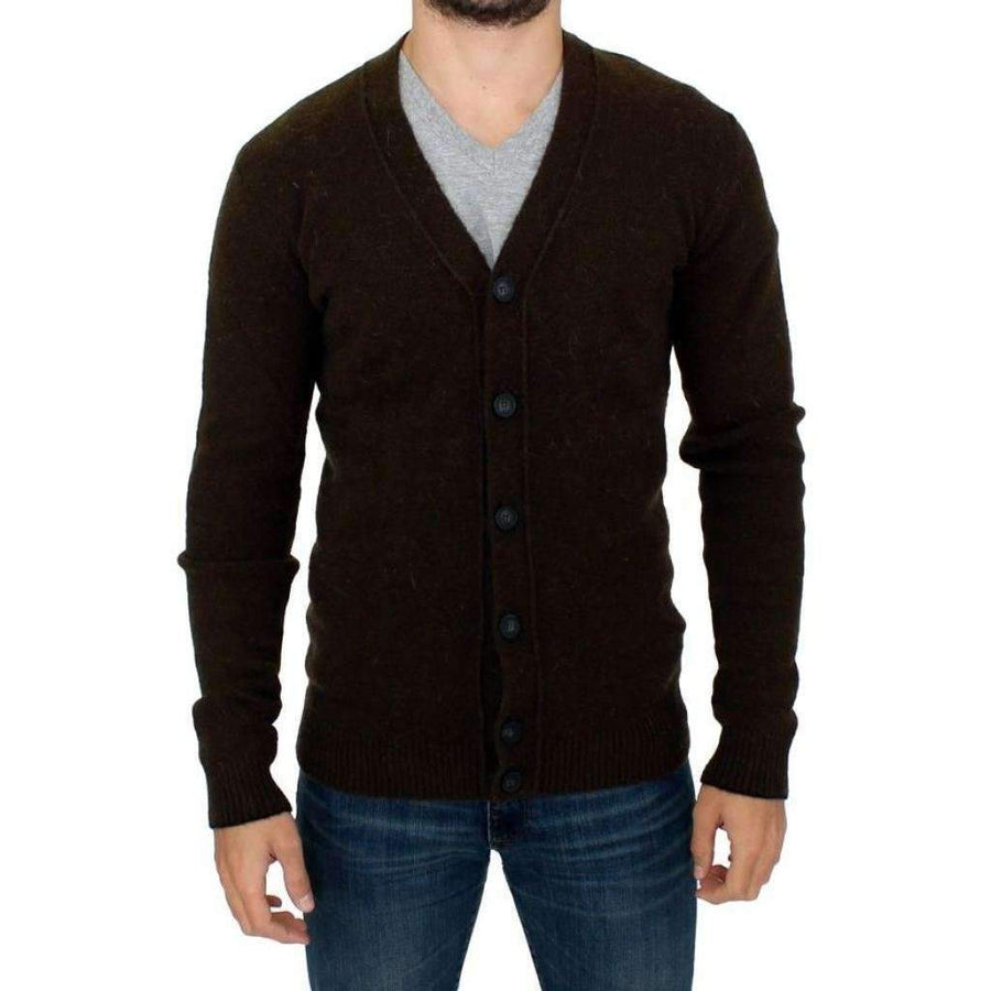 Costume National Brown Stretch Full Button Cardigan