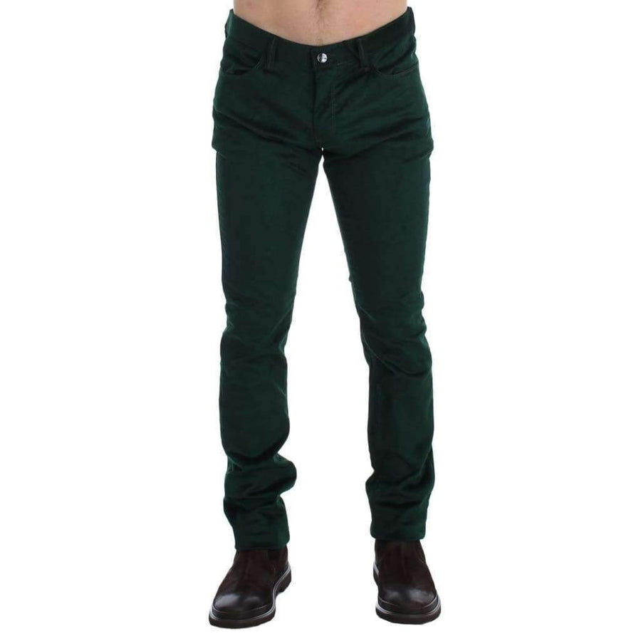 Green Corduroy Slim Fit Pants Jeans - Men - Apparel - Trousers - Costume National | Gethuda Fashion