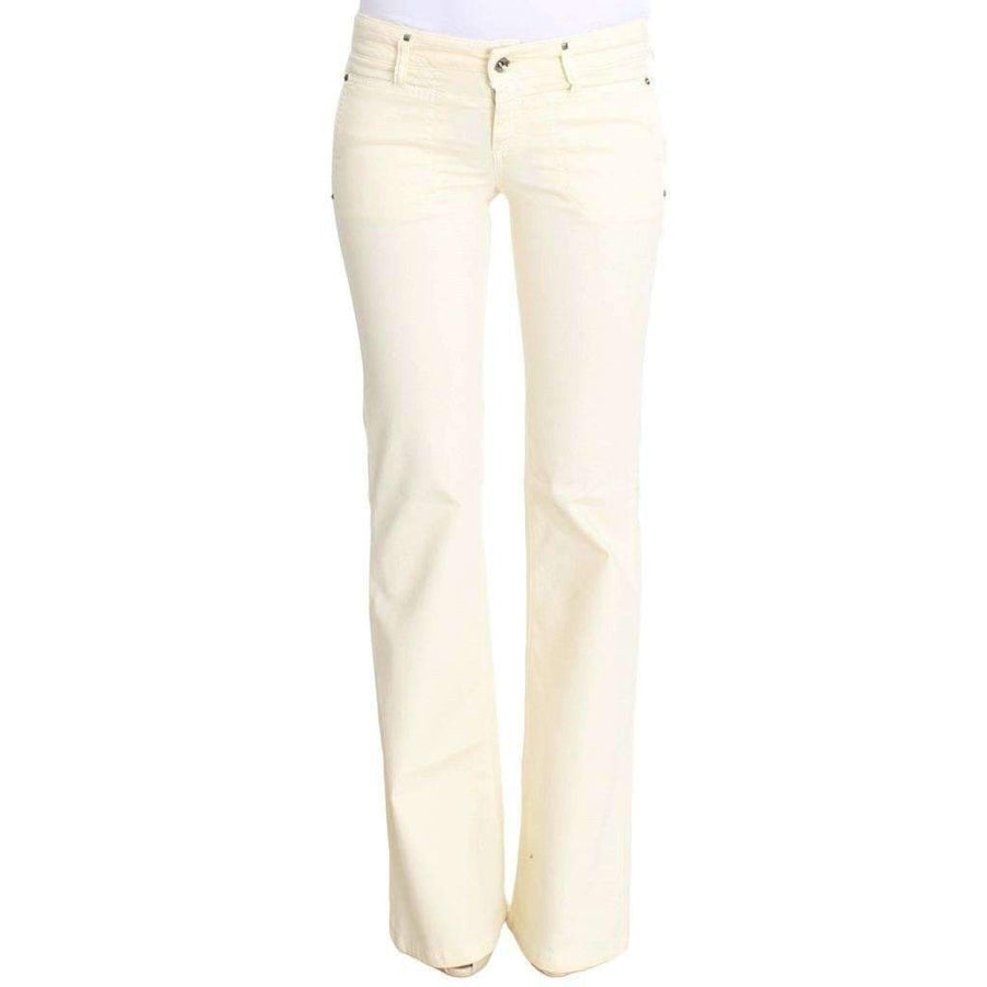White Cotton Stretch Flare Jeans - Women - Apparel - Denim - Jeans - Costume National | Gethuda Fashion