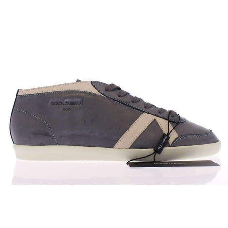 Dolce & Gabbana Dark Gray Leather Logo Sport Sneakers Shoes - Men - Shoes - Sneakers - Dolce & Gabbana | Gethuda Fashion