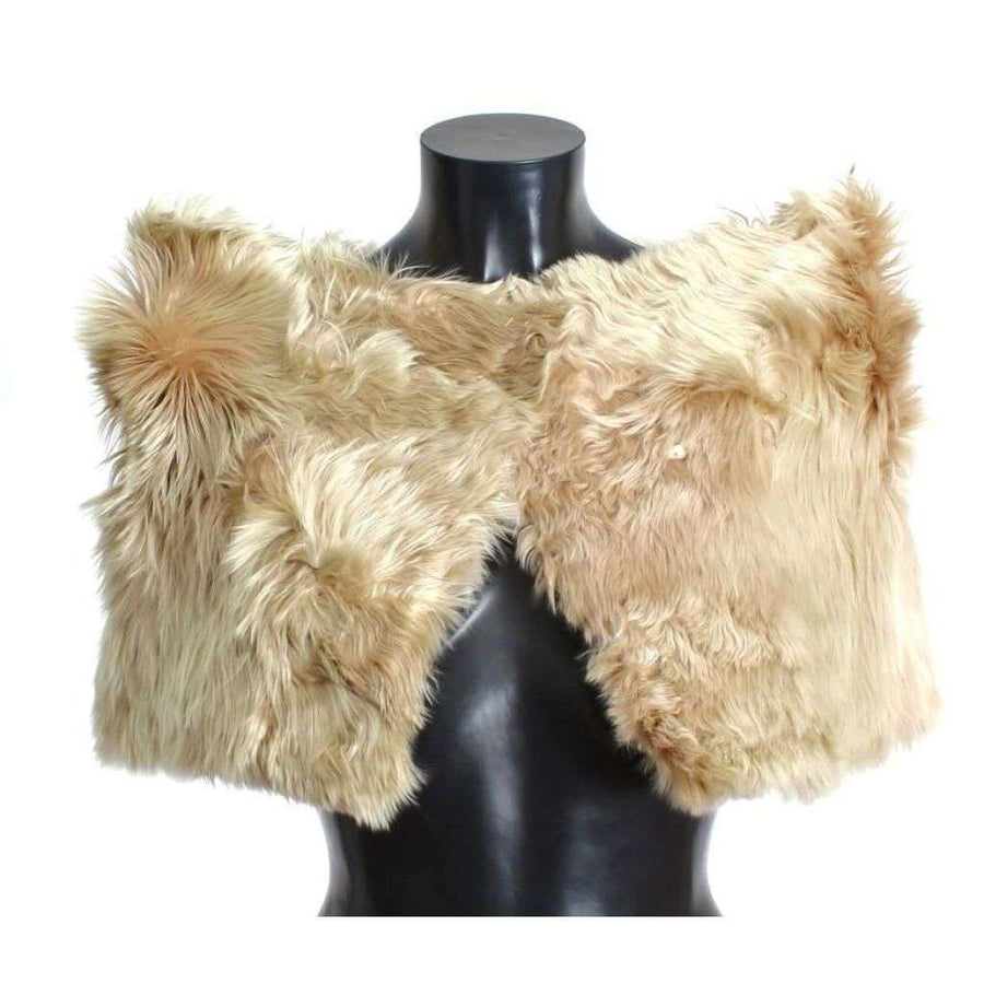 Dolce & Gabbana Beige Alpaca Fur Shoulder Wrap Scarf Shawl - Women - Accessories - Scarves - Dolce & Gabbana | Gethuda Fashion