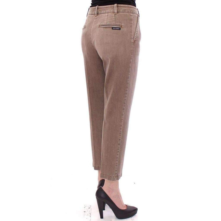 Dolce & Gabbana Beige Cotton Cropped Chinos Jeans Pants - Women - Apparel - Denim - Jeans - Dolce & Gabbana | Gethuda Fashion