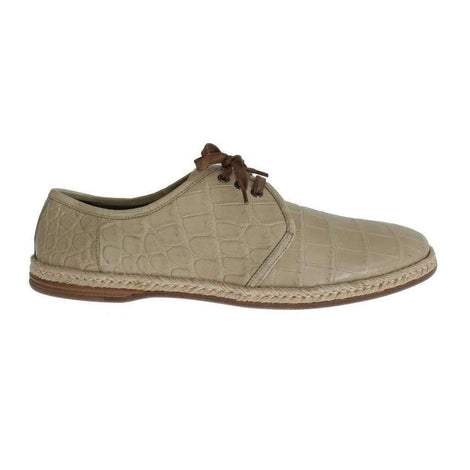 Dolce & Gabbana Beige Crocodile Skin Laceups Dress Shoes - Men - Shoes - Oxfords - Dolce & Gabbana | Gethuda Fashion