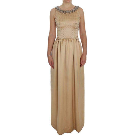 Dolce & Gabbana Beige Crystal Embellished Gown Shift Dress - Women - Apparel - Dresses - Casual - Dolce & Gabbana | Gethuda Fashion