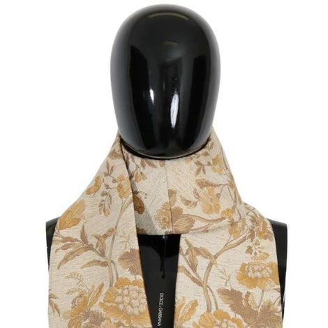 Dolce & Gabbana Beige Gold Jacquard Cotton Scarf - Men - Accessories - Scarves - Dolce & Gabbana | Gethuda Fashion