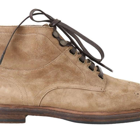 Dolce & Gabbana Beige Leather Ankle Boots - Men - Shoes - Boots - Dolce & Gabbana | Gethuda Fashion