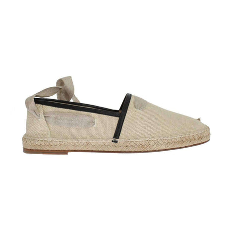 Dolce & Gabbana Beige Leather Canvas Strap Loafers