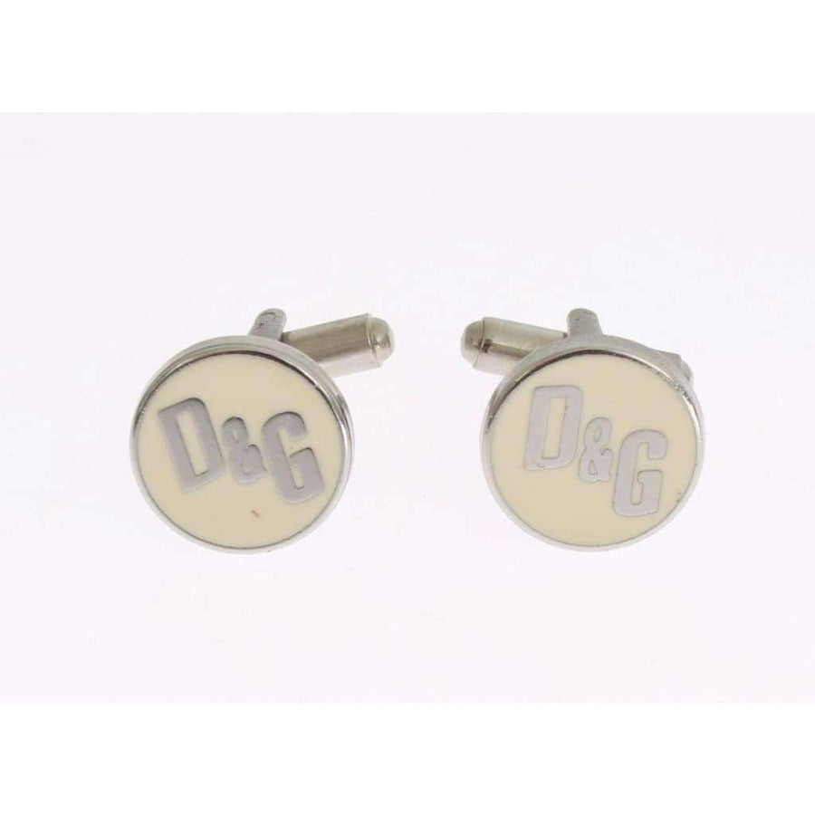 Dolce & Gabbana Beige Silver Brass Branded Round Cufflinks - Men - Accessories - Cufflinks - Dolce & Gabbana | Gethuda Fashion