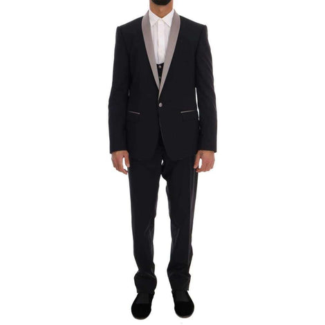 Dolce & Gabbana Black 3 Piece Martini Slim Suit