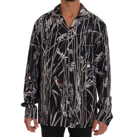 Dolce & Gabbana Black Bird Print Pajama Shirt - Men - Apparel - Lingerie And Sleepwear - Pajama Sets - Dolce & Gabbana | Gethuda Fashion