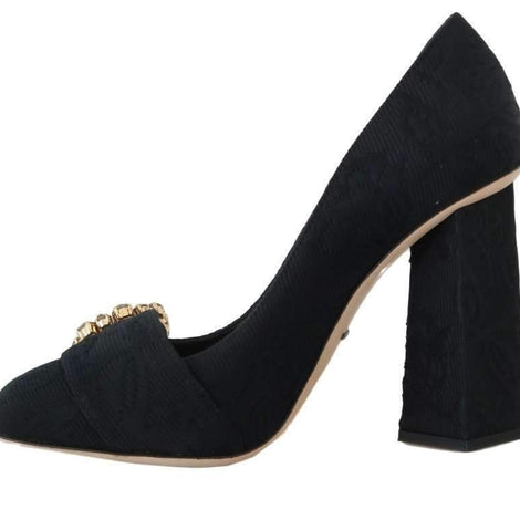 Black Brocade Crystal Mary Janes Pumps - Women - Shoes - Pumps - Dolce & Gabbana | Gethuda Fashion